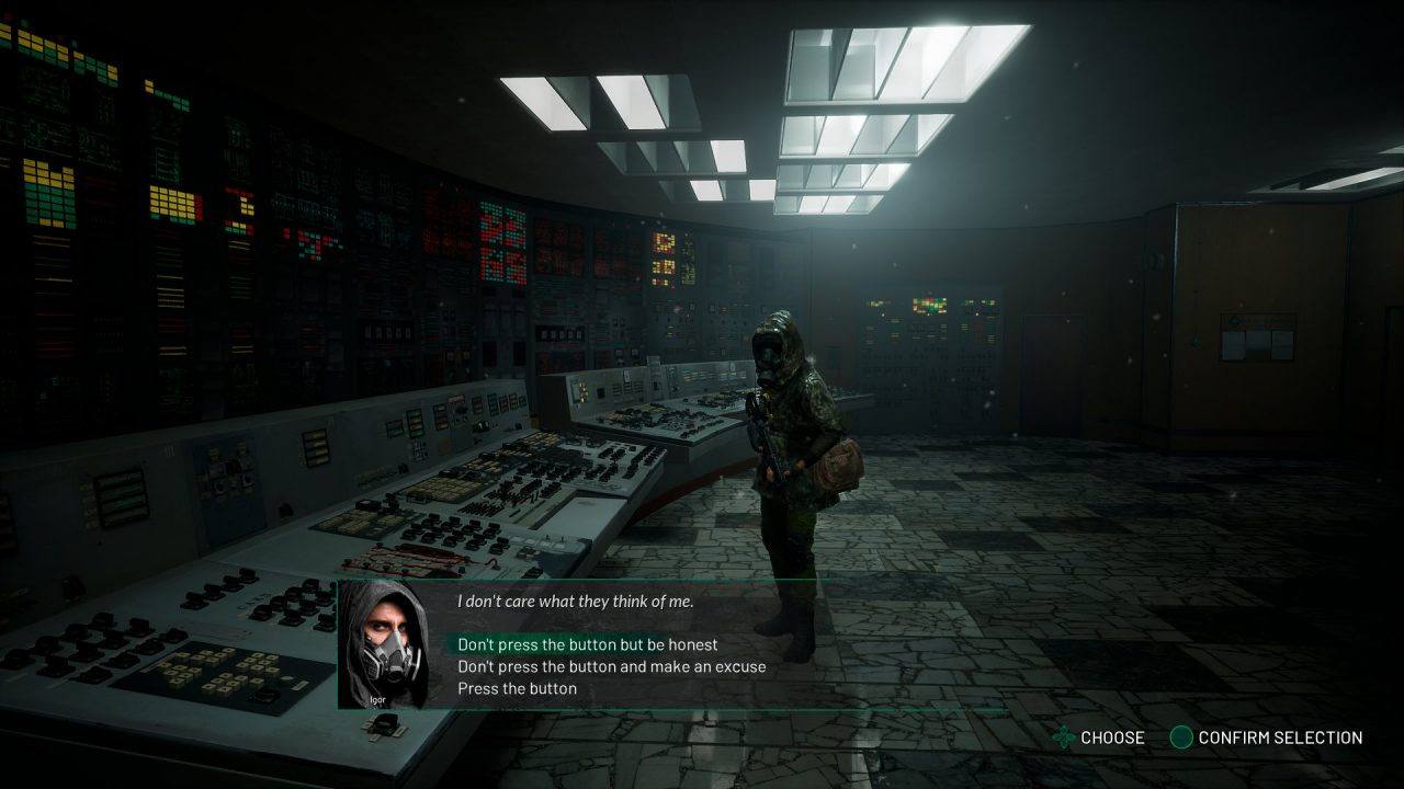 The main character has to make a choice in Chernobylite.