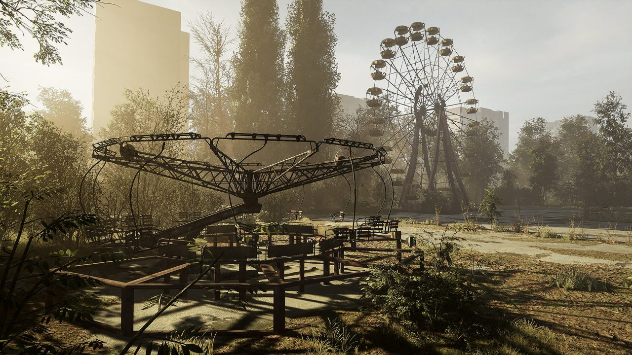 Some long-abandoned amusement park rides sit idle in Chernobylite.