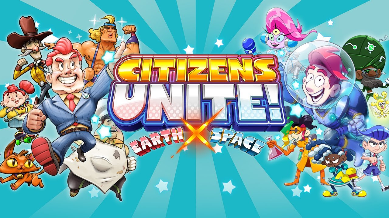 Citizens Unite!: Earth x Space Logo and Character Collage