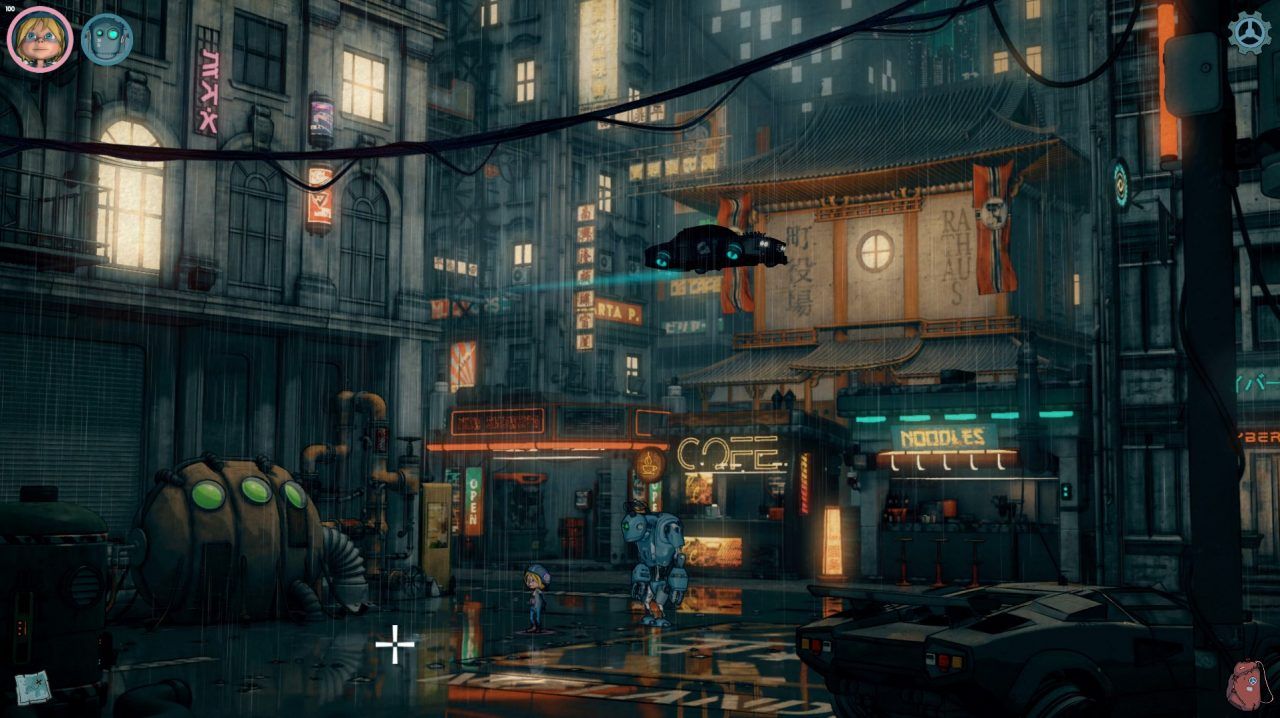 A car hovers above some shops in a futuristic city.