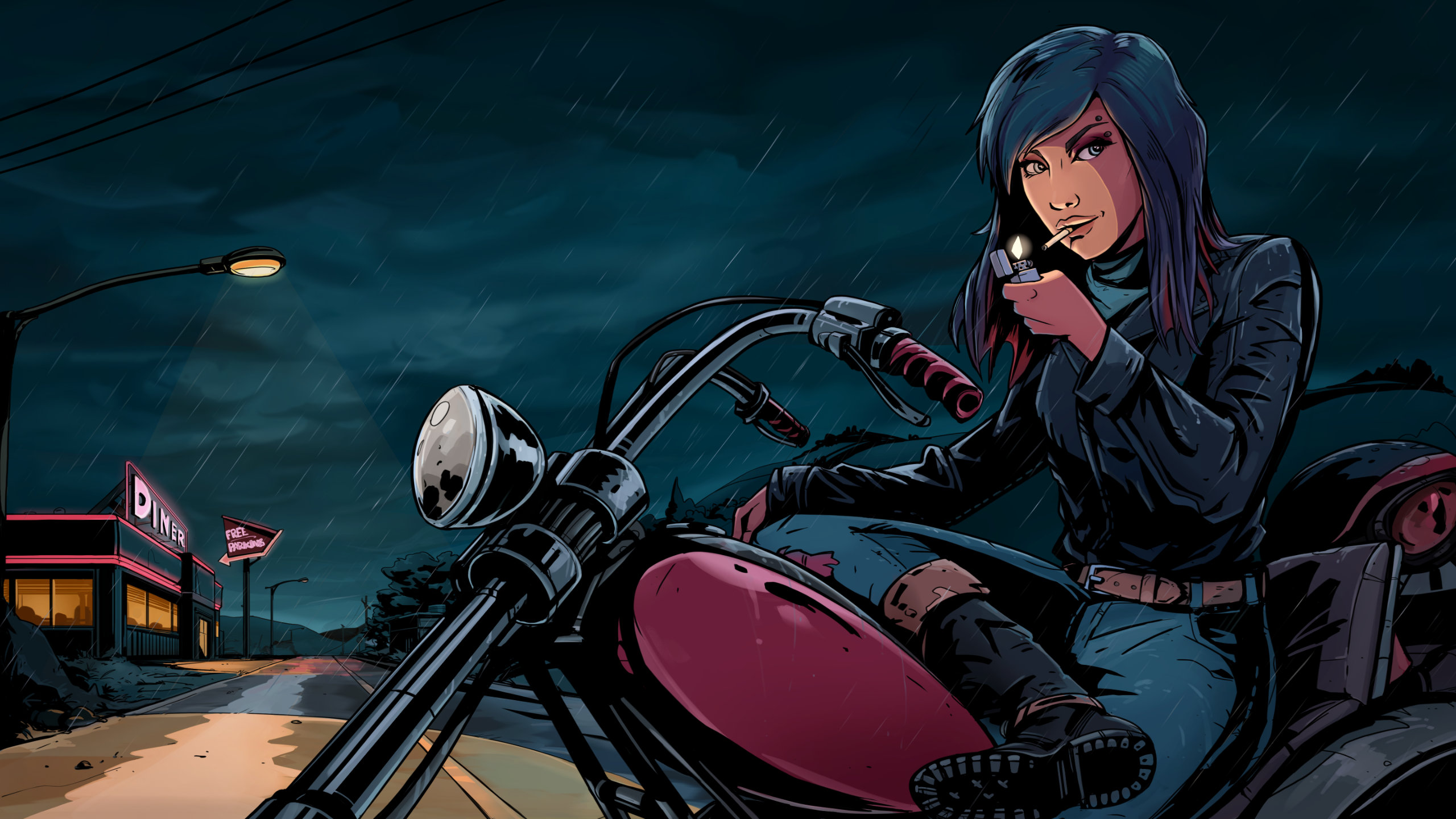 Kathy Rain: Director's Cut artwork of the titular detective on her motorcycle at night.