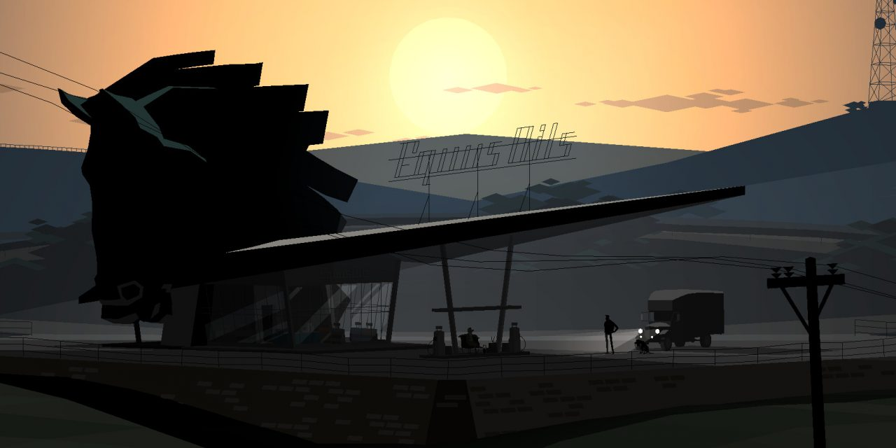 Kentucky Route Zero screenshot featuring a service station with the sun on the horizon and a truck pulling up.