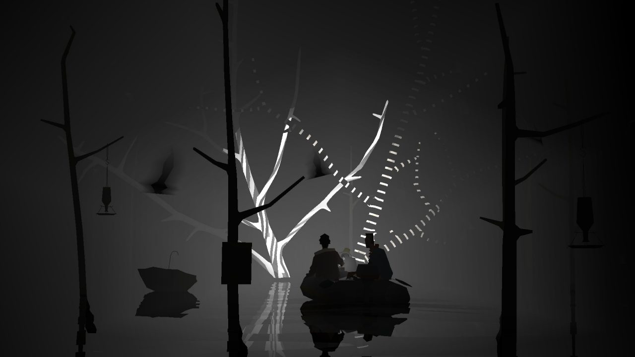 Kentucky Route Zero screenshot featuring two individuals in a dark forest, facing some lighter, striped trees.