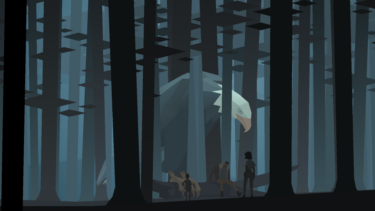 Kentucky Route Zero screenshot featuring the group in a tall forest with our giant eagle friend as the focal point.