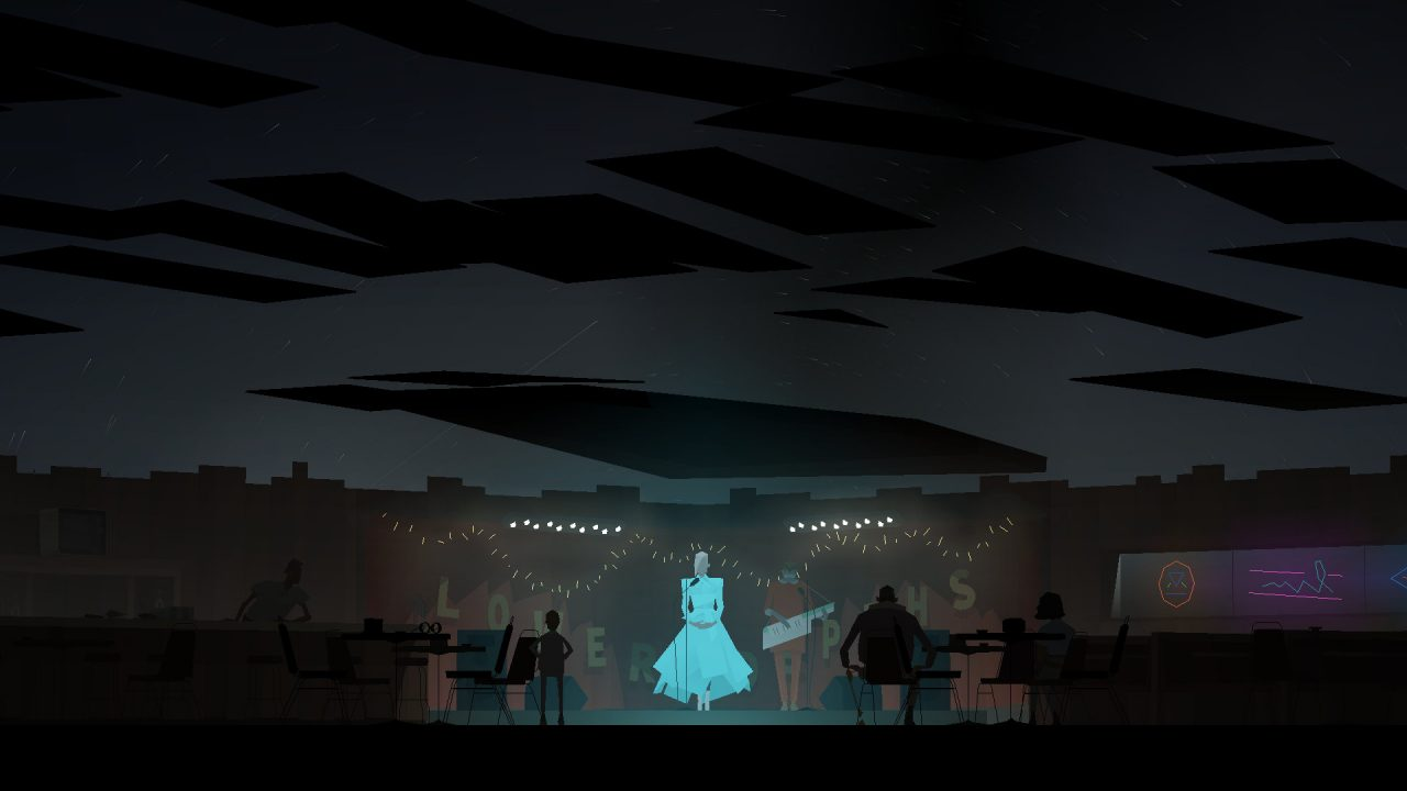 Kentucky Route Zero screenshot featuring a woman in a light-colored gown singing on stage with strings of lights in the background.