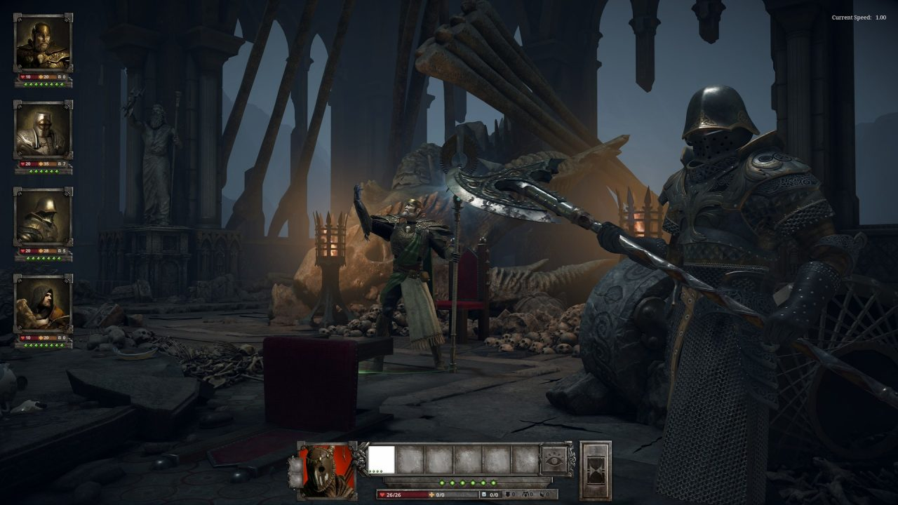 King Arthur: A Knight's Tale screenshot: a knight and mage stand at the ready in a creepy ruin strewn with skeletons