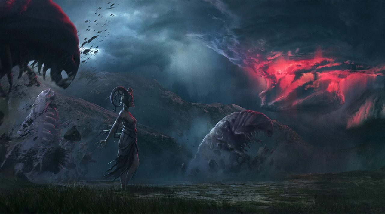 King Arthur Knight's Tale screenshot: giant worms erupt out of the ground alongside other enemies while a mysterious storm roils in the background