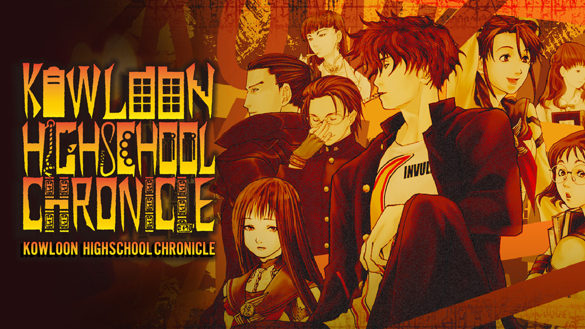 Kowloon High-School Chronicle Key Art with logo and cast of characters.