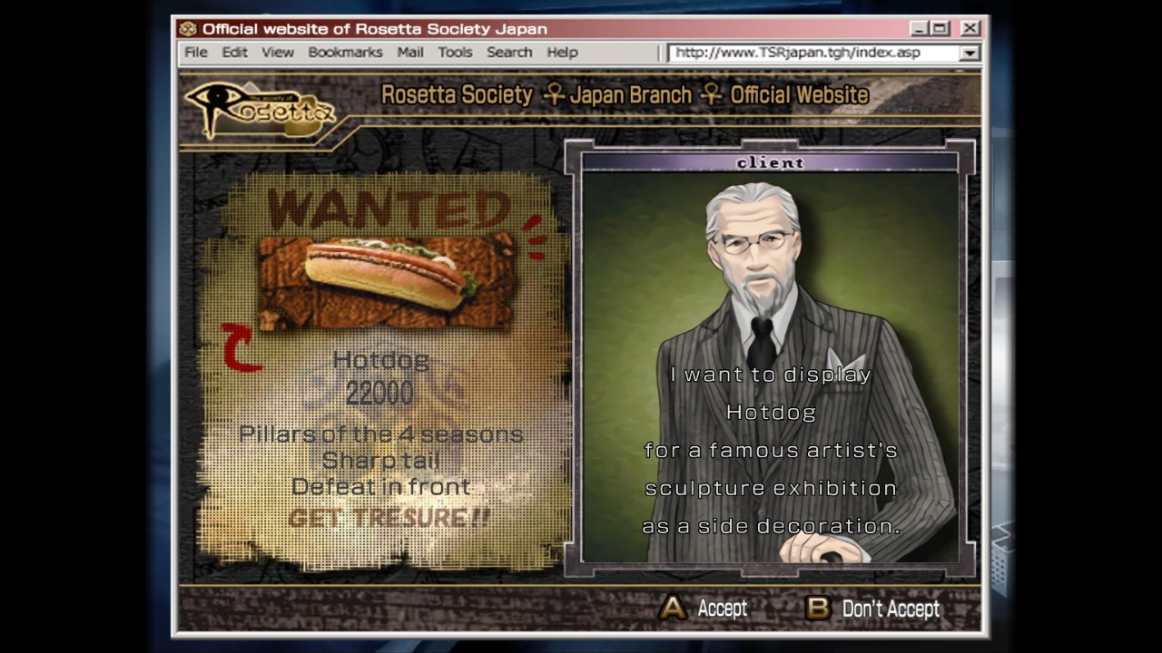 Kowloon High-School Chronicle screenshot with an older gentleman in a suit desiring to display a hot dog for a famous artist's sculpture exhibition.