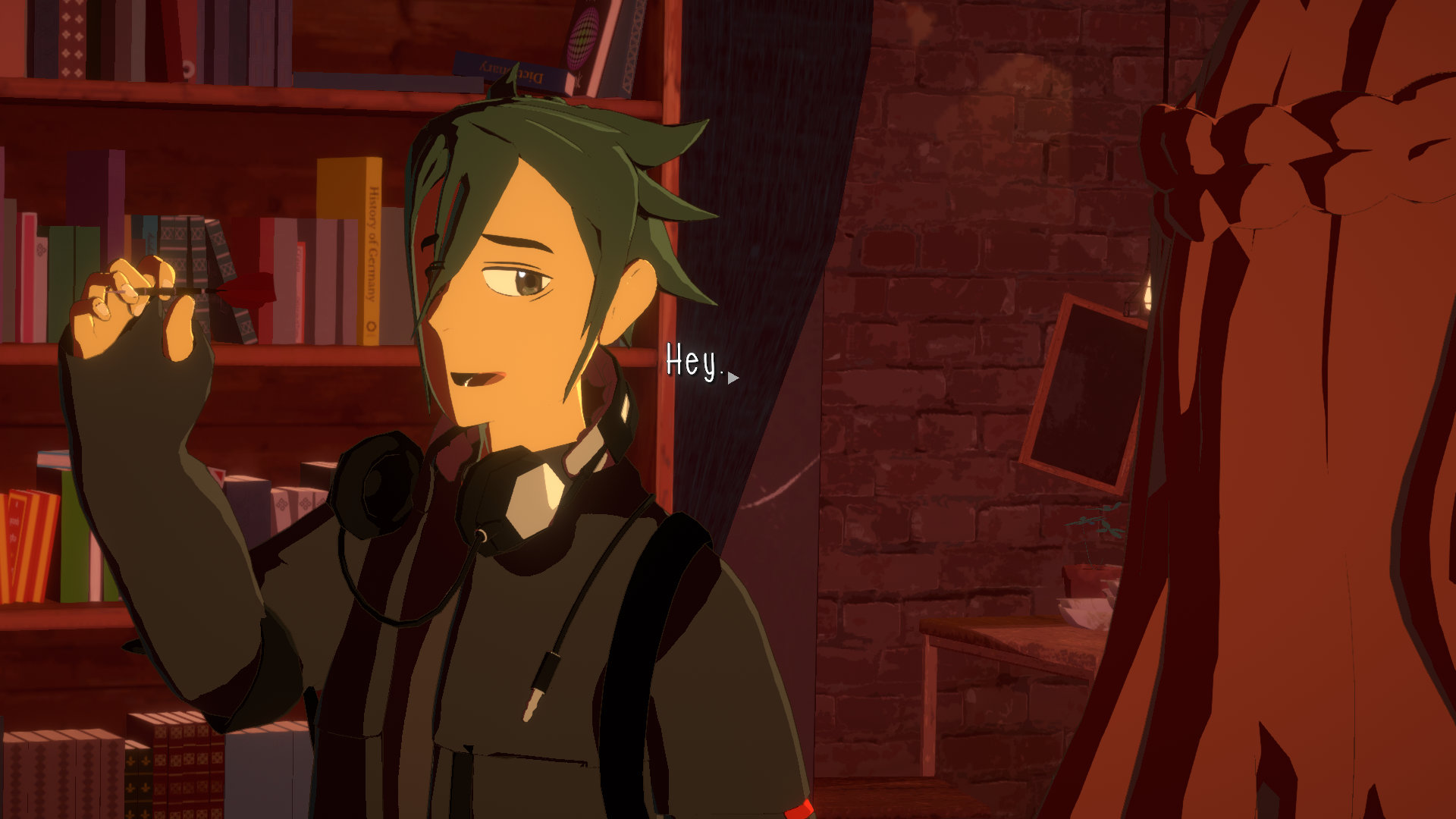 Necrobarista screenshot of a green-haired man holding a dart with headphones draped around his neck.