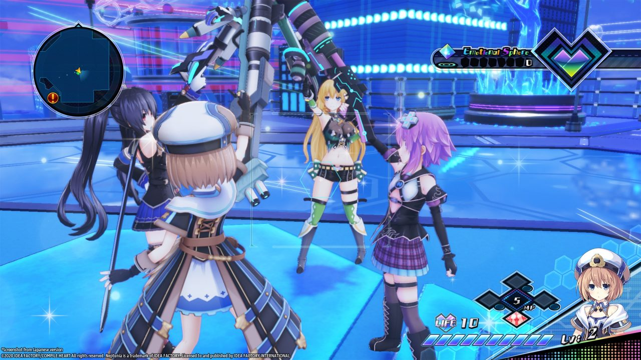 Characters raise their weapons together in unity in Neptunia Virtual Stars.