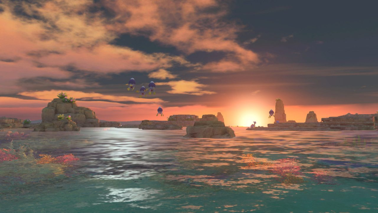 A reef at sunset, with Drifblim floating by and a Lapras on the horizon