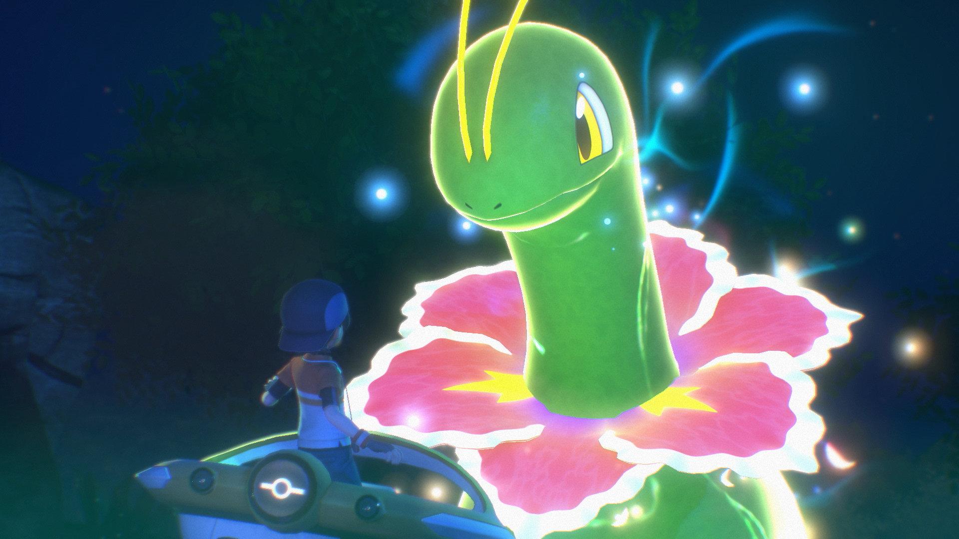 Illumina Meganium judges the player in New Pokémon Snap.