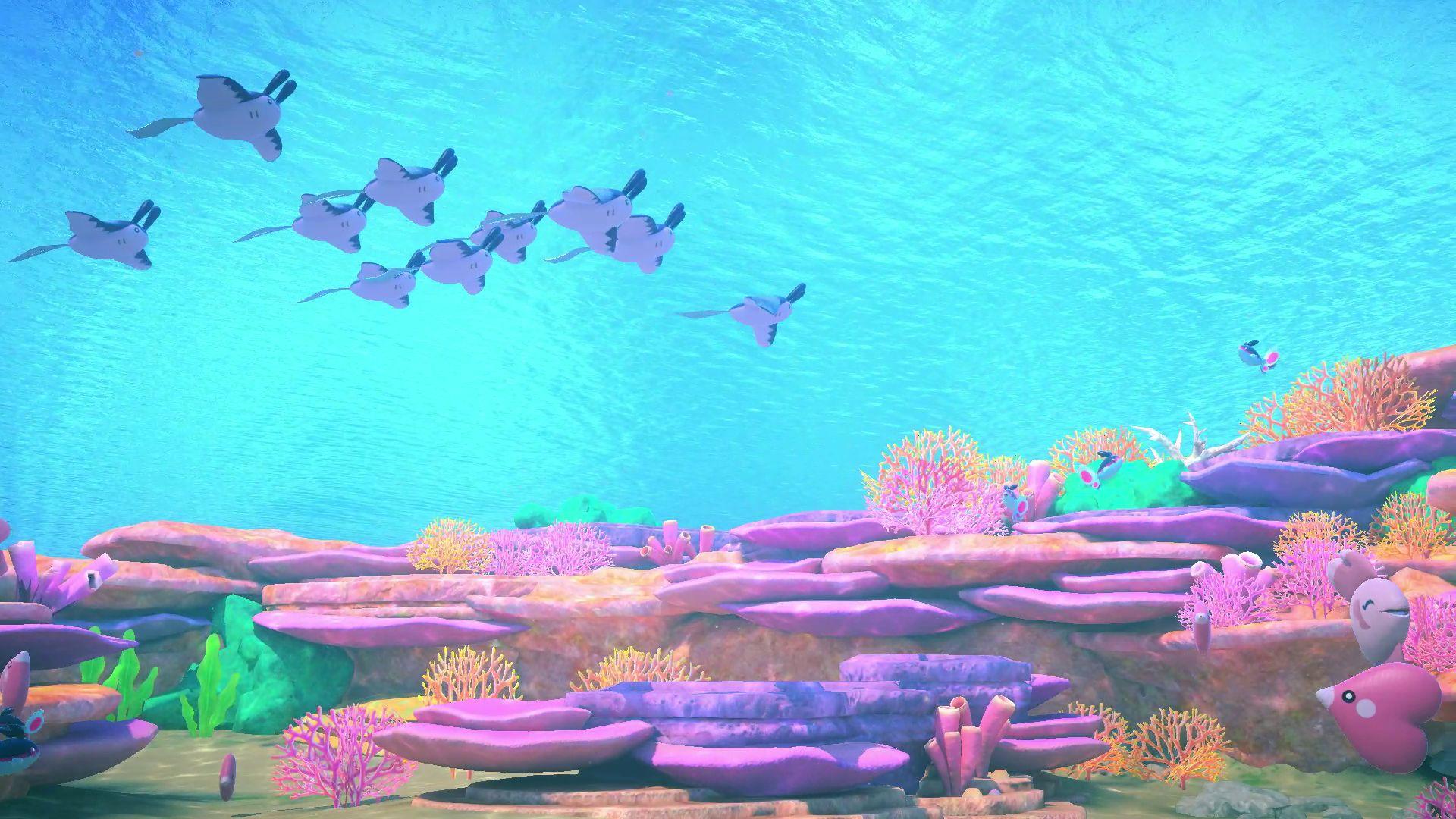 Screenshot of underwater Pokémon in the Lental Region in New Pokémon Snap