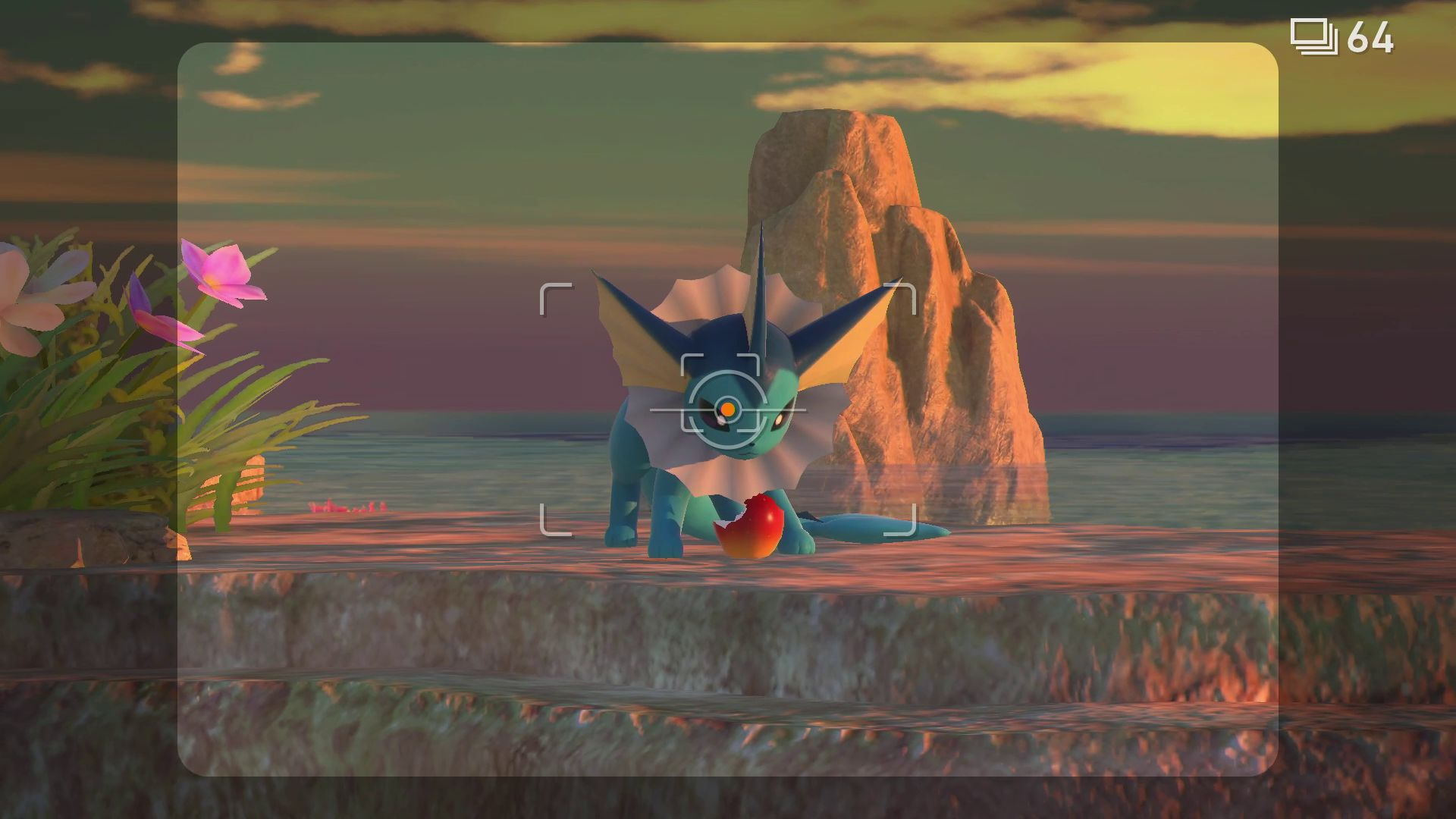 A Vaporeon eating a berry in New Pokémon Snap.