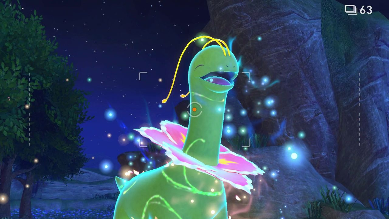 A giant Meganium with glowing patterns on its body, otherwise known as the Illumina Effect