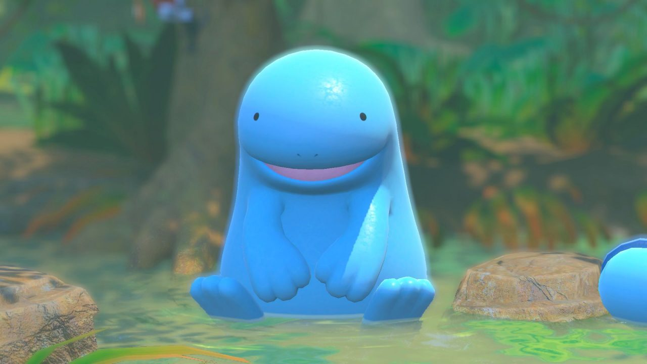 A Quagsire being a quintessential Quagsire and sitting in some shallow water in New Pokémon Snap.