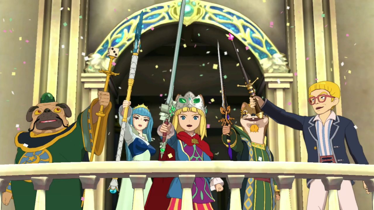 Characters celebrating by holding their swords in the air in front of a castle together in Ni no Kuni II: Revenant Kingdom.