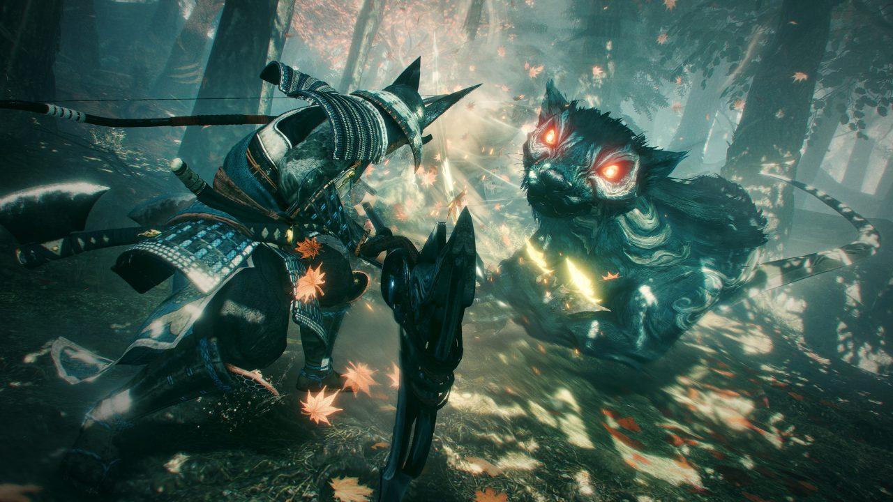 Nioh 2: The First Samurai DLC screenshot with a samurai-armored character clashing with a giant demonic wolf-like beast.