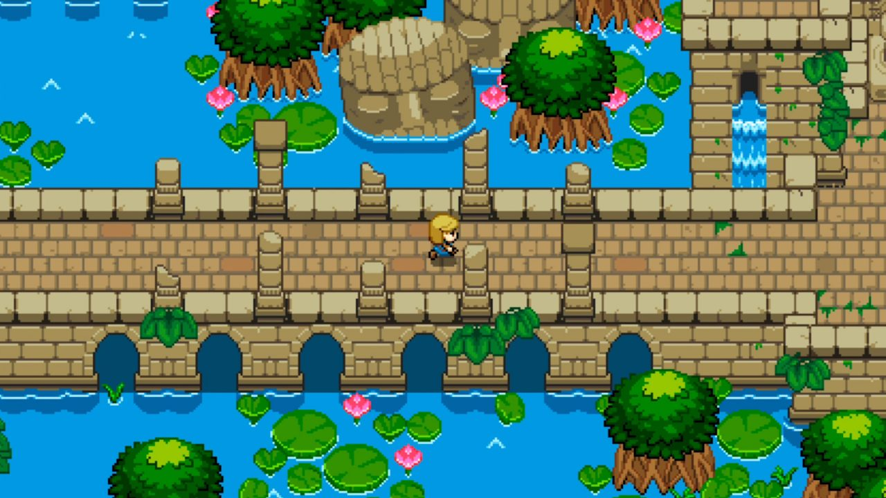 The protagonist of Ocean's Heart crosses a brick bridge on her way to further adventures.