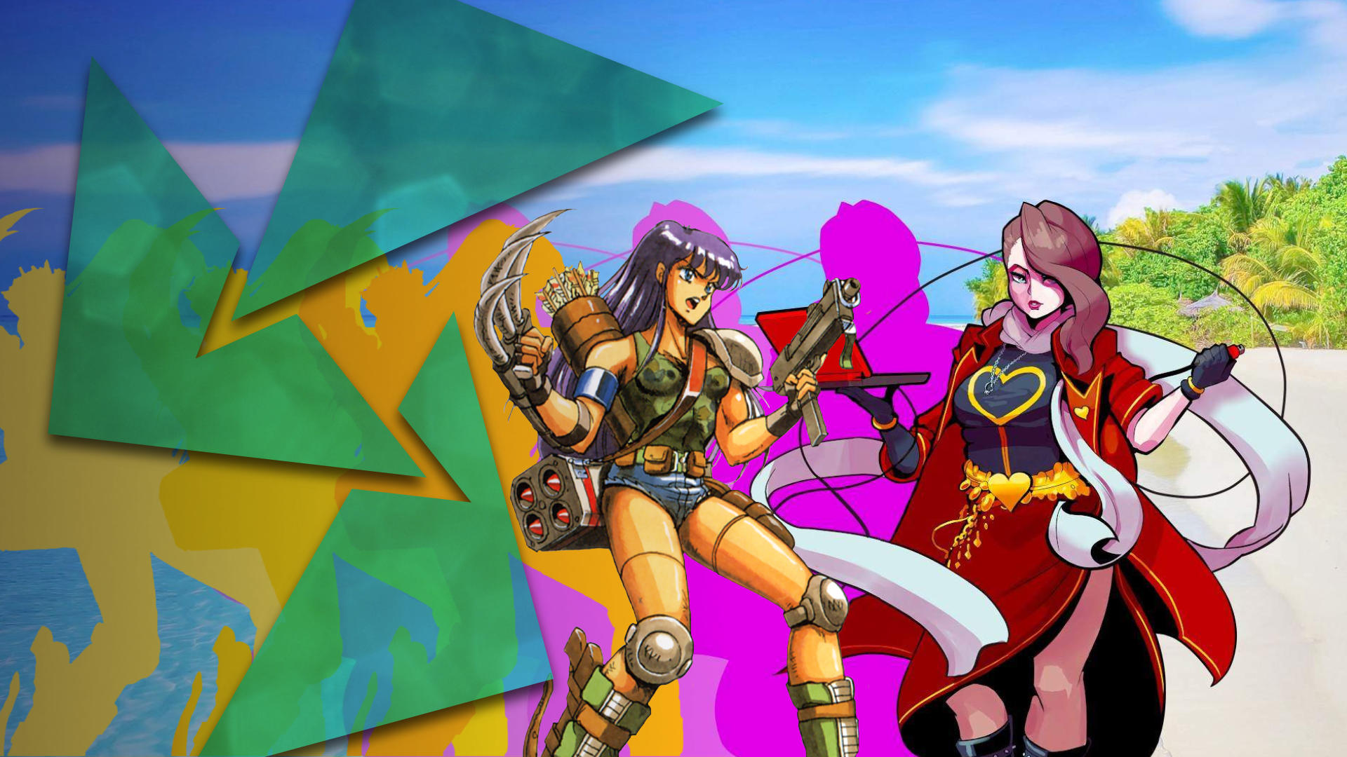 Vibrant neon colours outline a female warrior with a clawed weapon from the video game Final Fantasy Legend and beside her stands a red-coated brown-haired woman with a heart on the chest of her costume holding a clipboard from the game Paradise Killer.