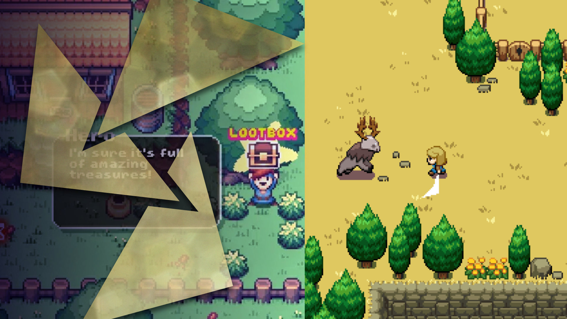 Two screenshots from different video games, one from There Is No Game: Wrong Dimension showing a boy holding a treasure aloft, the other from Ocean's Heart with a blond girl fighting a monstrous deer creature.