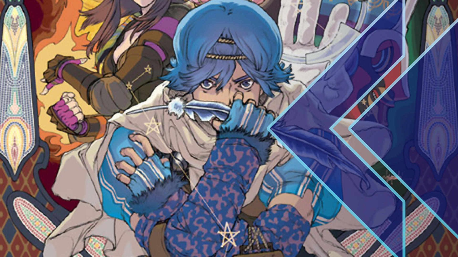 Retro Encounter Baten Kaitos artwork featuring a blue-haired protagonist looking serious while tightly clutching a large blue feather.
