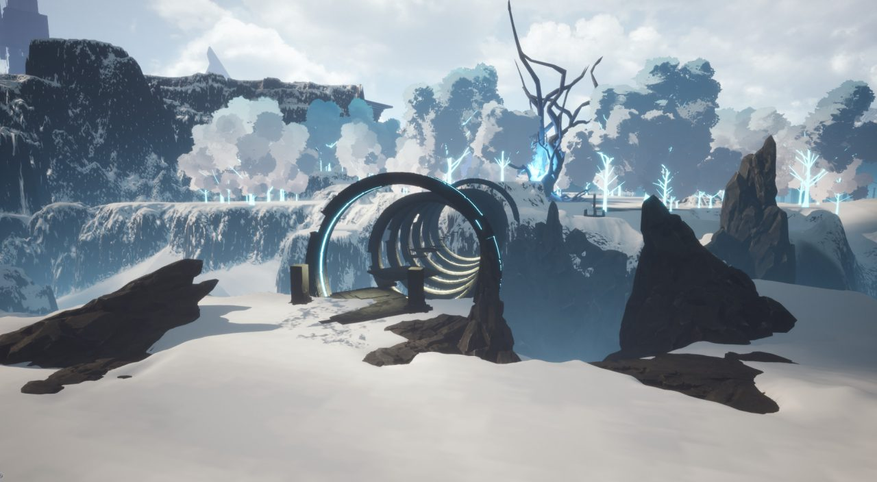 Shattered - Tale of the Forgotten King screenshot: a series of rings provide platforms to bridge an icy crevasse in a snowy landscape