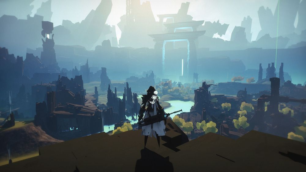 Shattered - Tale of the Forgotten King Screenshot of a warrior looking over a misty valley filled with rocky ruins.