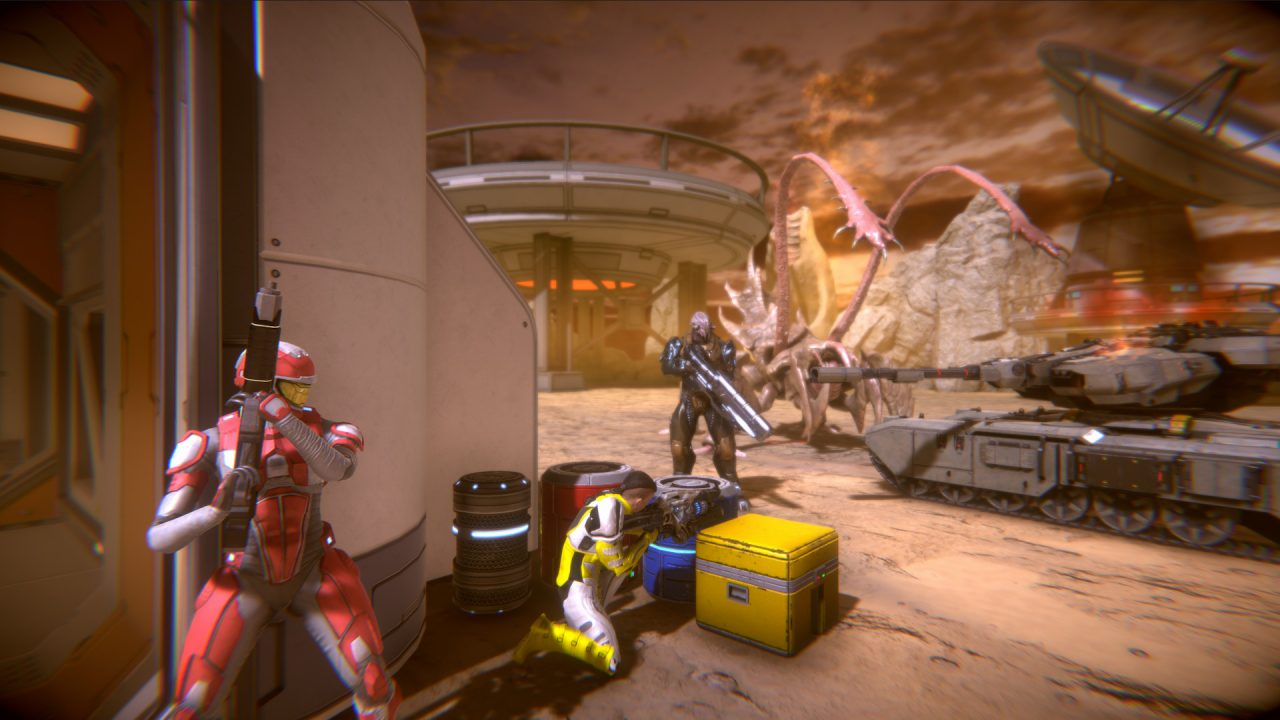 A player character in red armor hides behind a prefab building, preparing to shoot an enemy, in Strike Team Gladius.