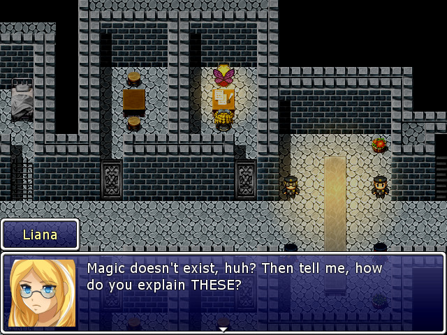 Blonde female character showing off fairy wings inside a jail cell in a screenshot of The Book of Shadows.