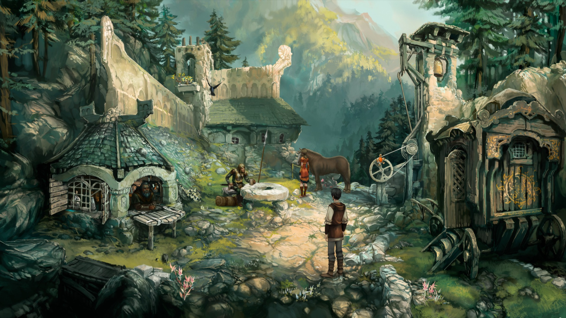 Screenshot from The Dark Eye: Chains of Satinav Featuring A Lushly Hand-painted Town