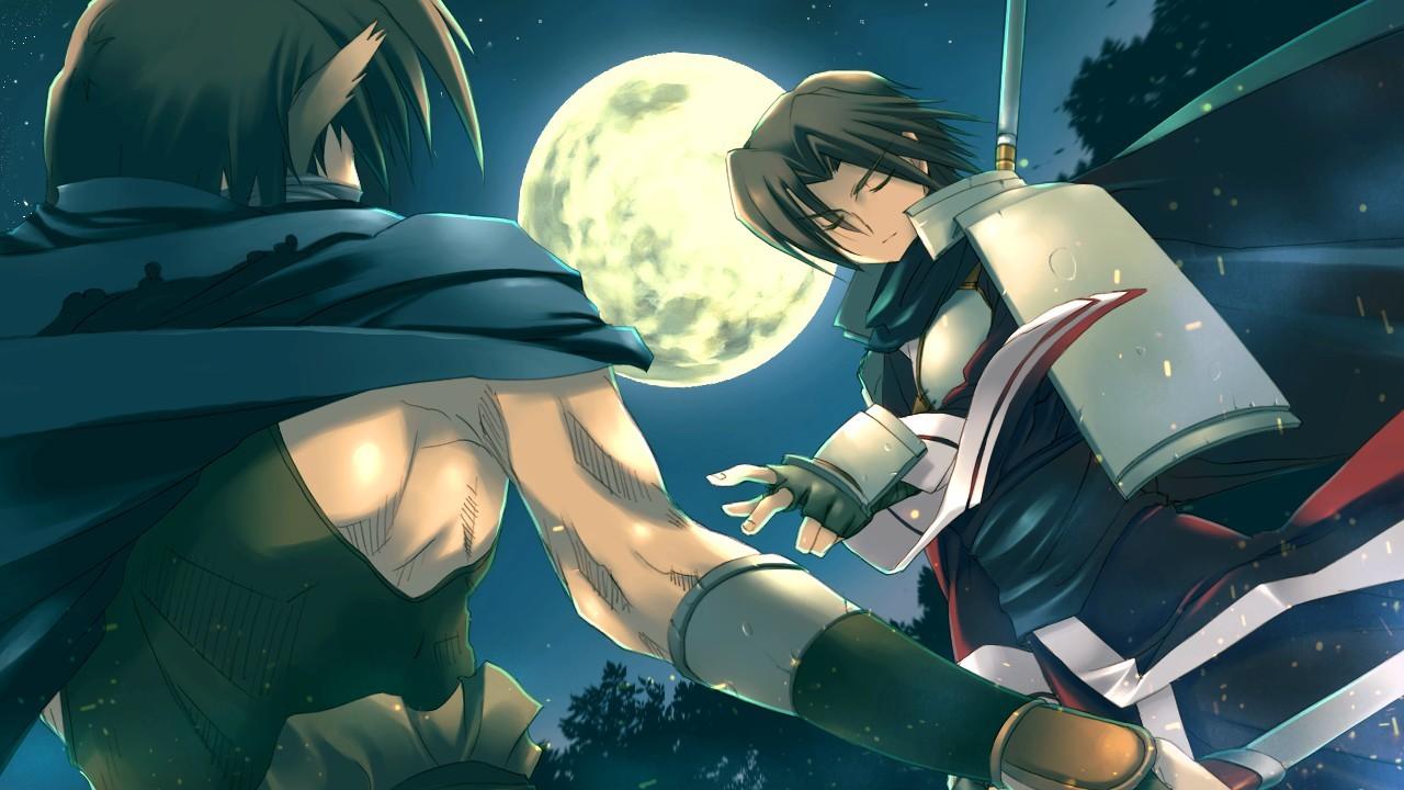 Two men engage in a sword duel beneath a full moon in Utawarerumono: Prelude to the Fallen.