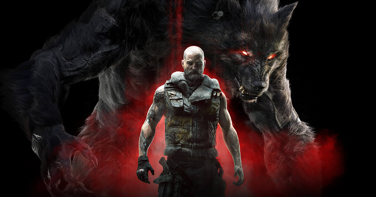 Werewolf: The Apocalypse - Earthblood concept art showcasing a gruff bald man in leather gear with his imposing werewolf form looming in the background.
