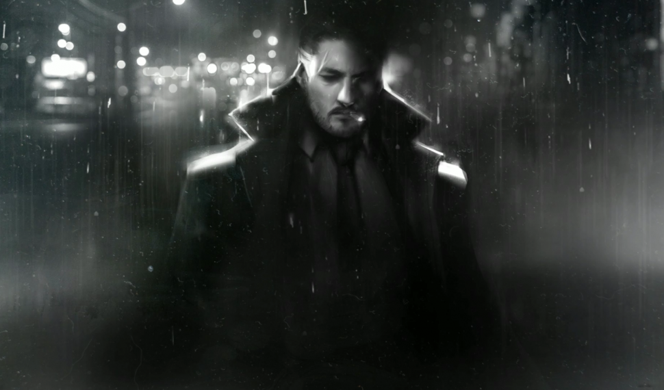 Dry Drowning dark, noir-style artwork of a a man in a trenchcoat with out of focus city lights in the background