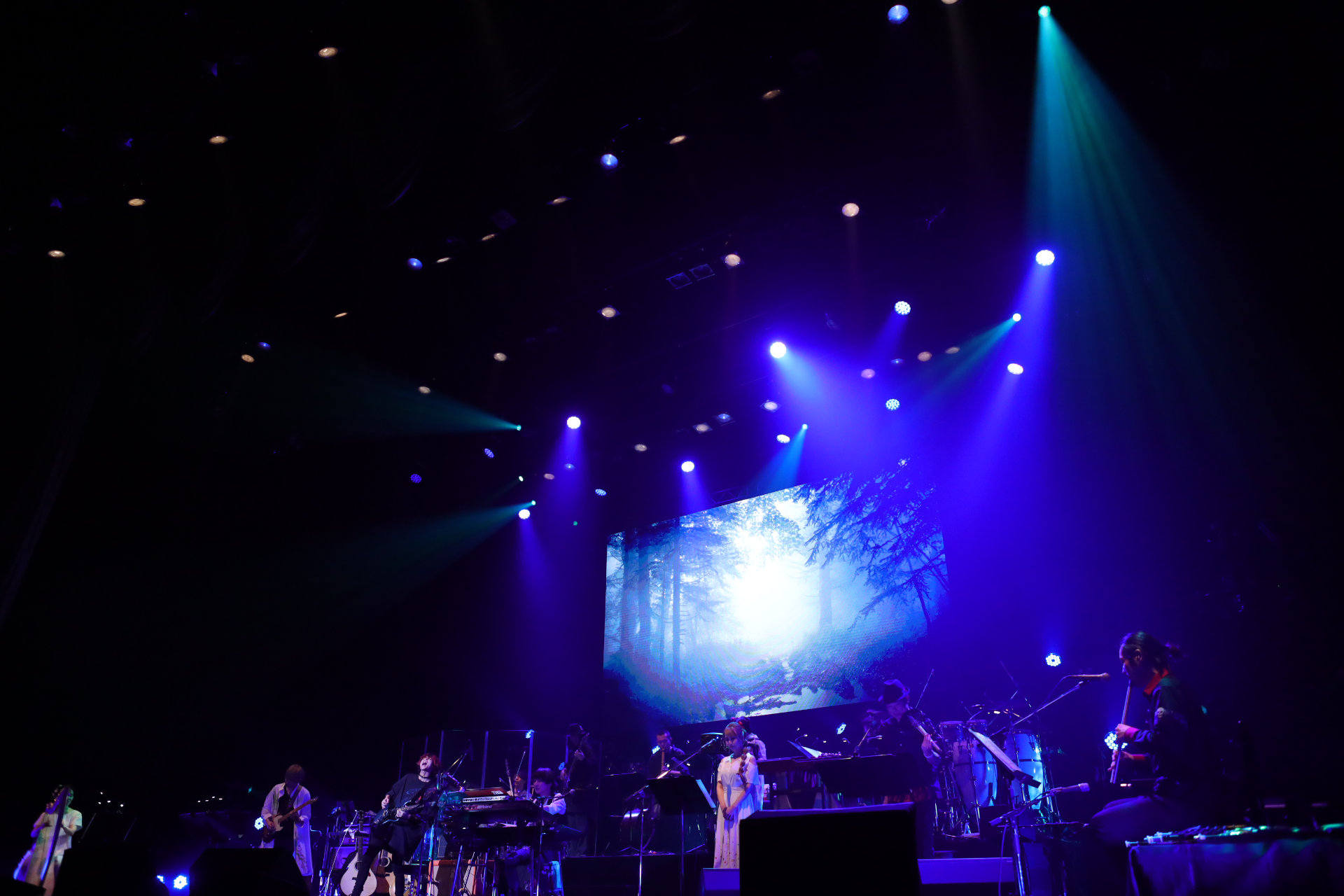 Chrono Cross concert photo showing the performers in front of a large screen with an image of a misty forest.