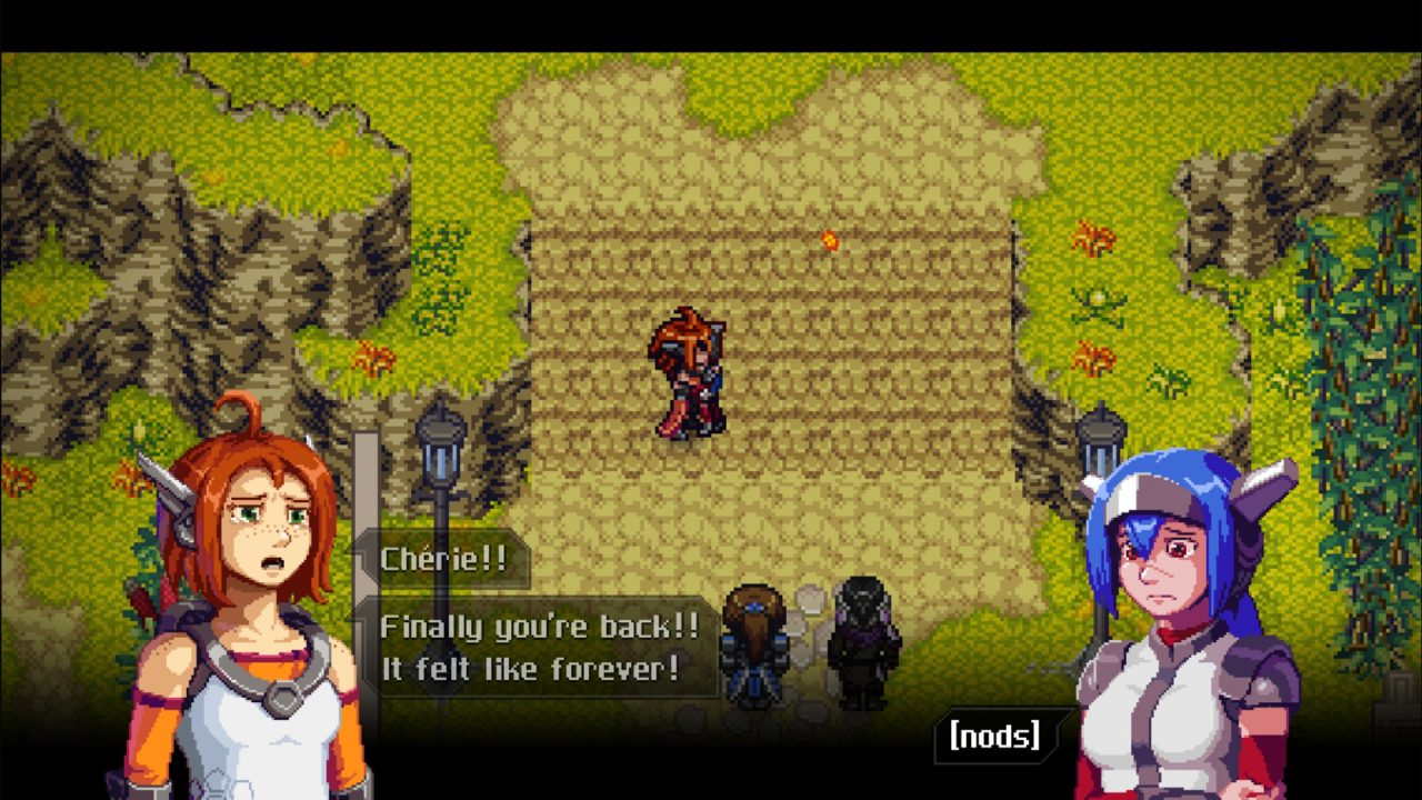Emilie hugging Lea in CrossCode: A New Home