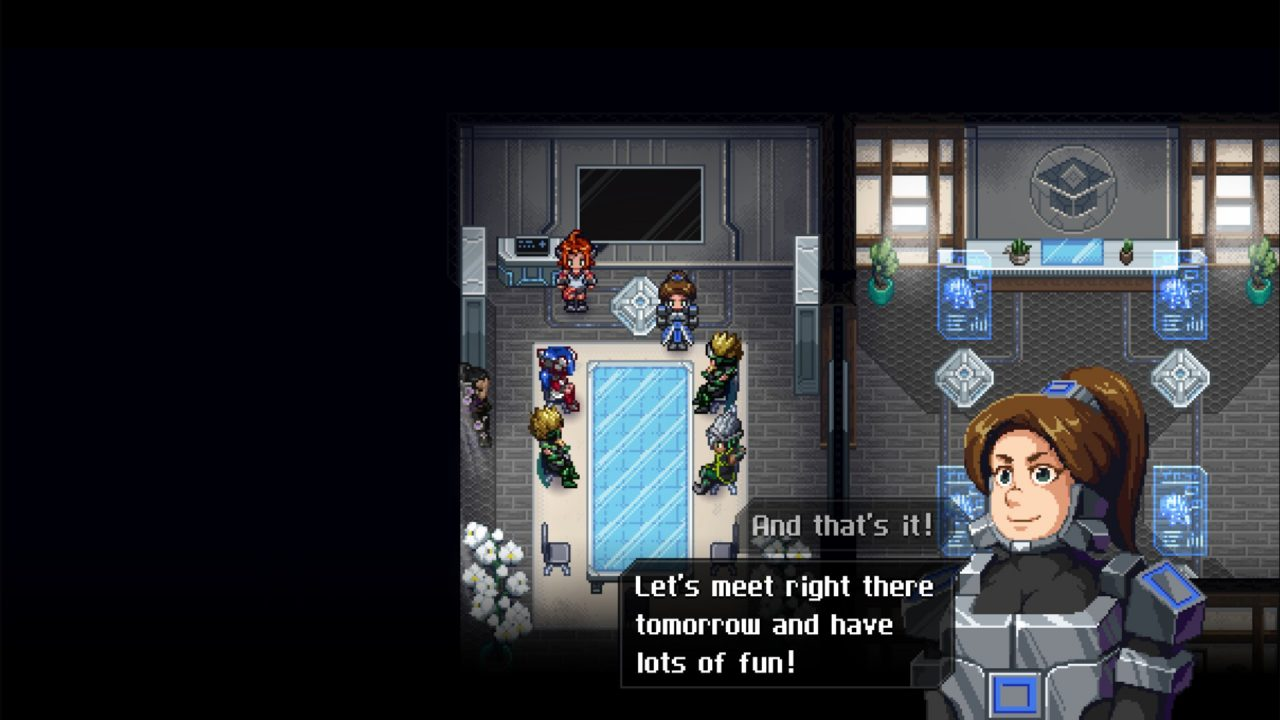 The main cast of CrossCode in the new DLC A New Home