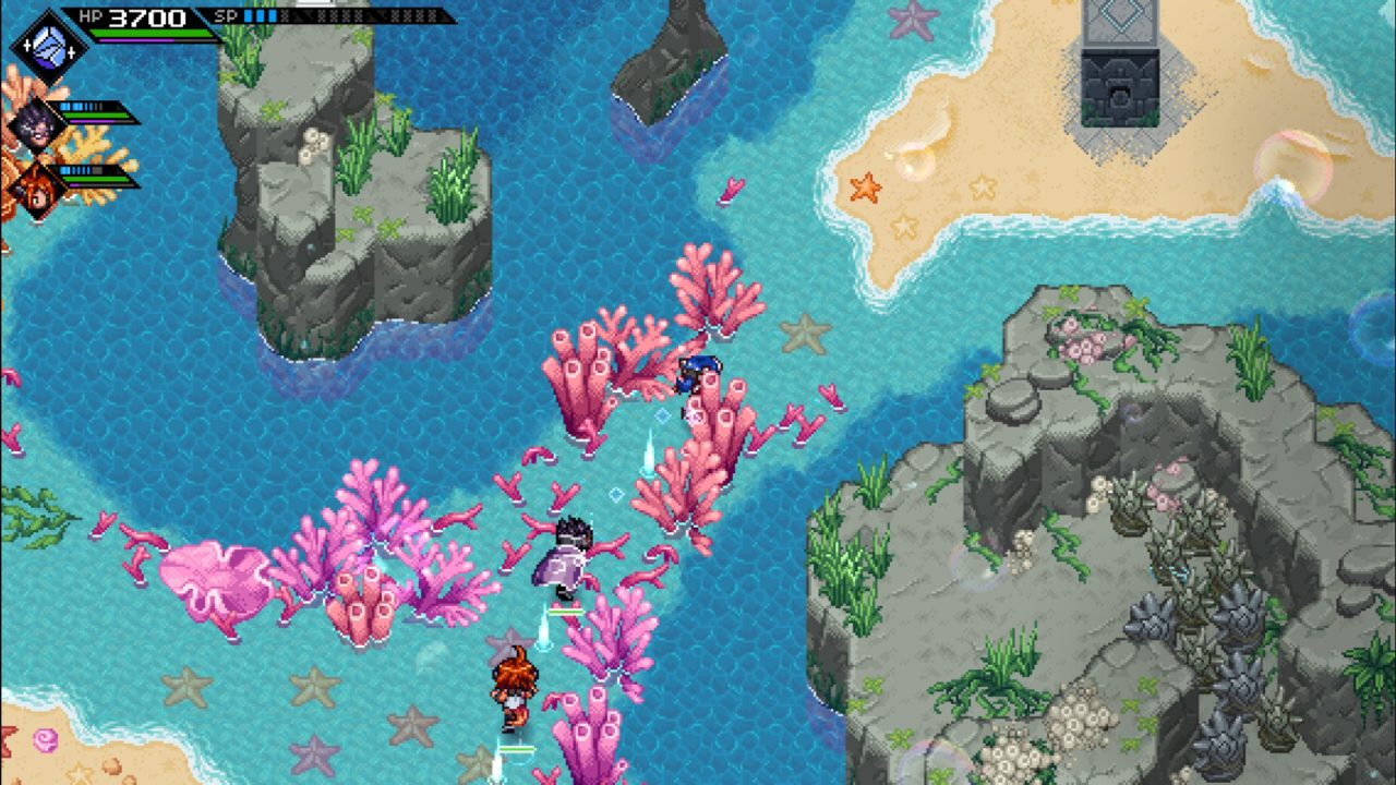 Lea, Emilie and C'tron running through a beach in CrossCode: A New Home