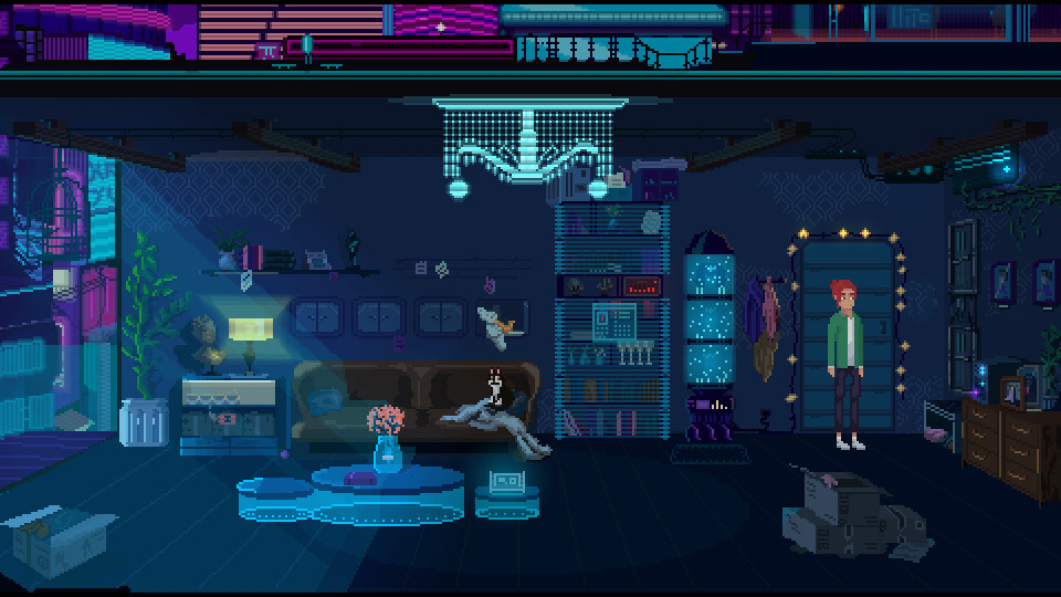 Don't Forget Me screenshot of a man standing in a dim living room with boxes, neon glass tables and a crystal chandelier with neon buildings seen outside the window.
