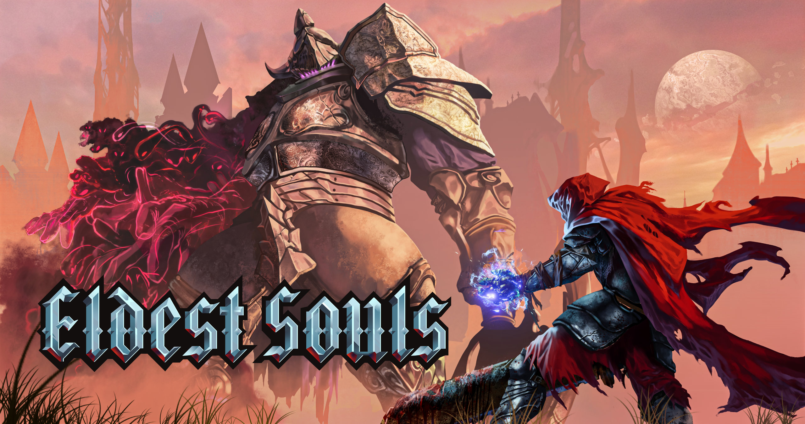 A picture of a large armoured figure facing down a sword-wielding figure who wears a red cape, with the words ELDEST SOUL set beside them.