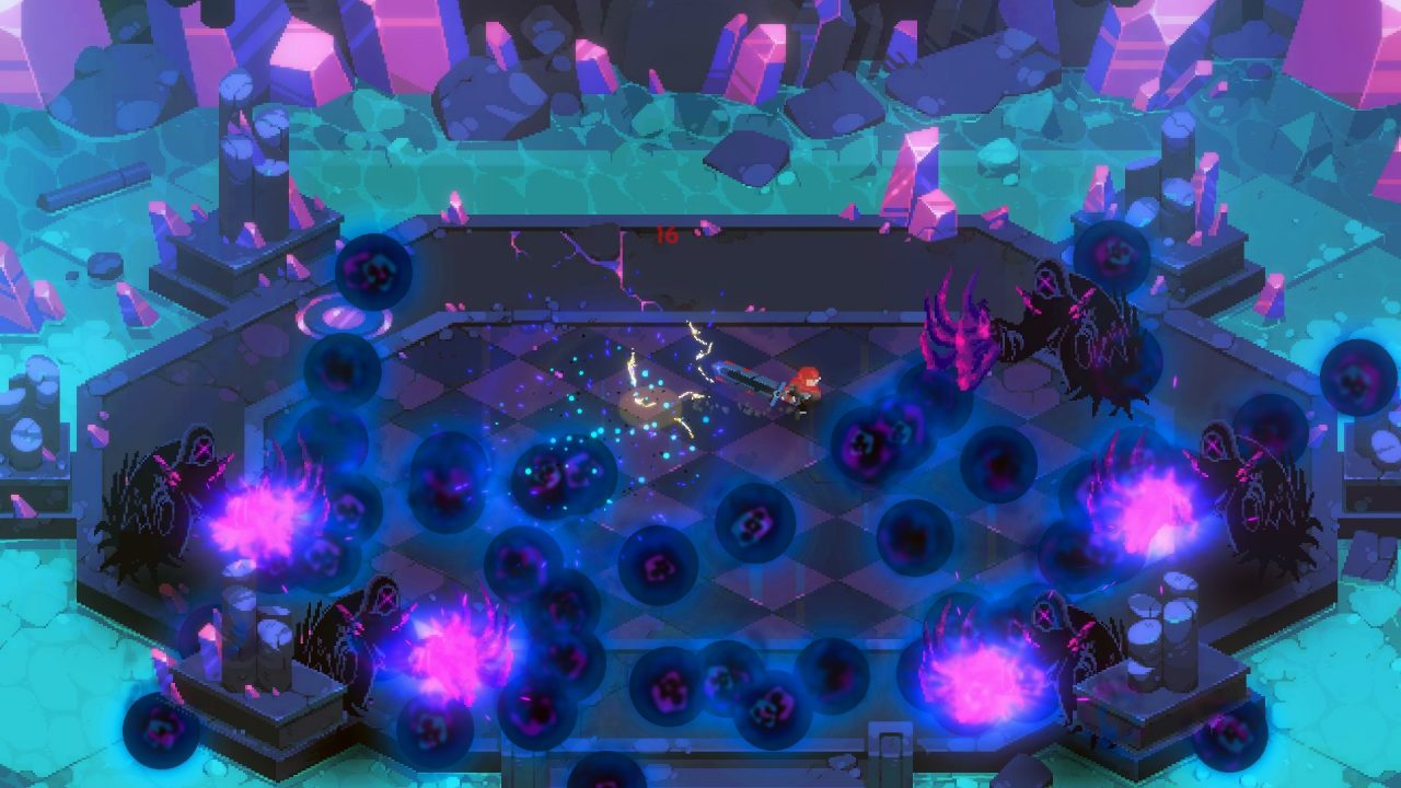 Eldest Souls screenshot of the protagonist dodging a lot of black balls of energy coming from several cloaked figures in a small octagonal arena.