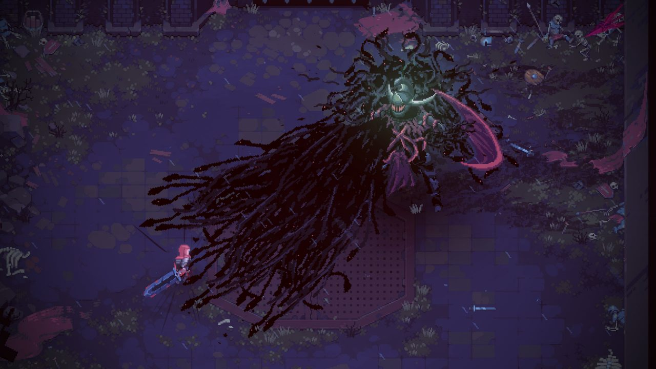 A gigantic boss made of dark tendrils rearing above the the nameless protagonist of Eldest Soul.