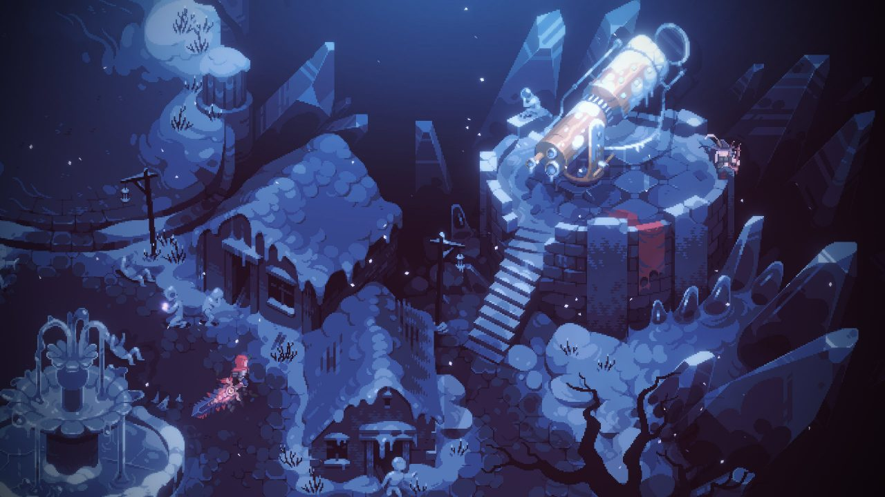 The nameless protagonist of Eldest Souls walking through a snow-covered village, icicles covering the roofs.