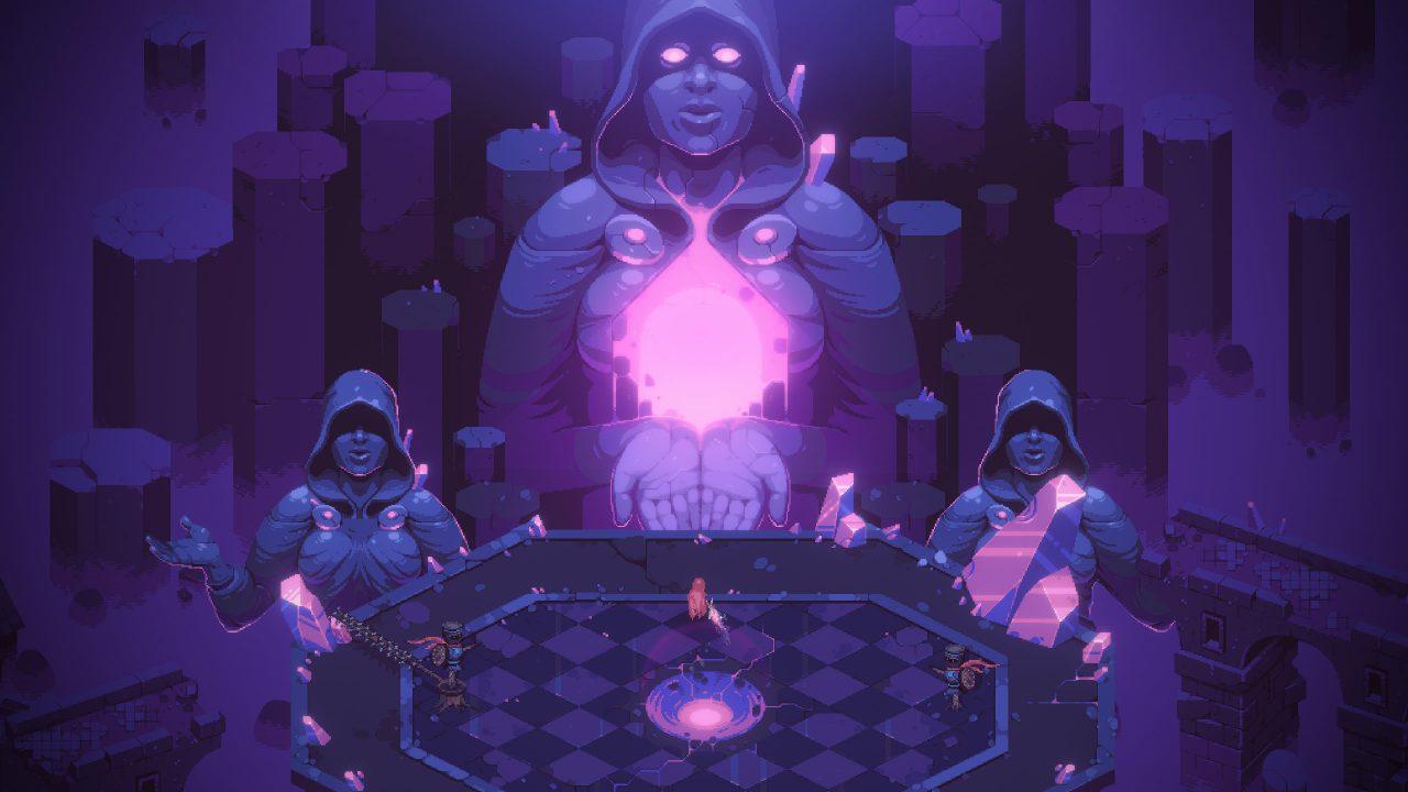 A menacing statue, bearing a center mass glowing a deep purple.