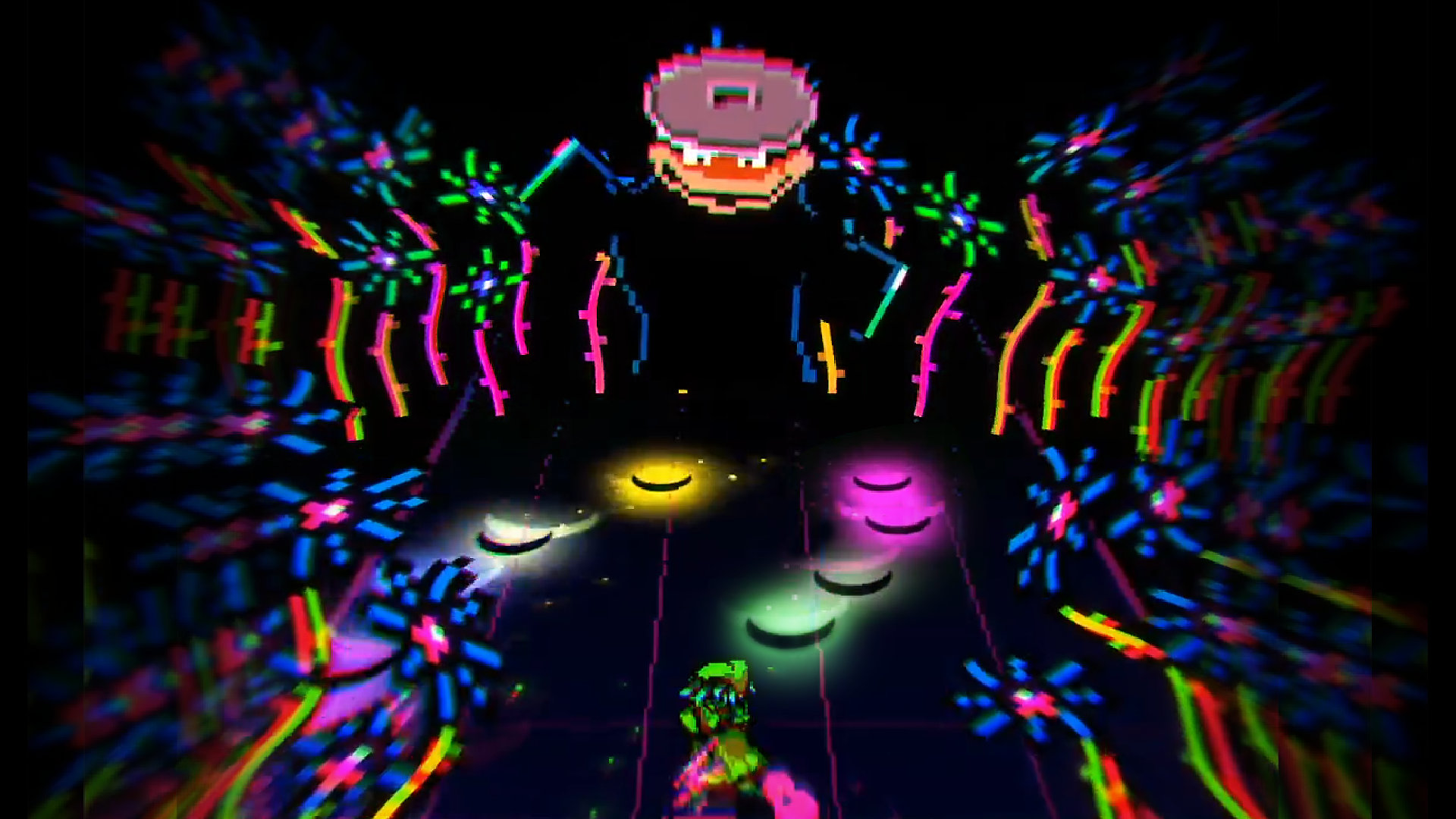 Everhood Screenshot of psychedelic colored flowers spiraling around as a character faces off against a frog-like face with a garbage can lid on its head.