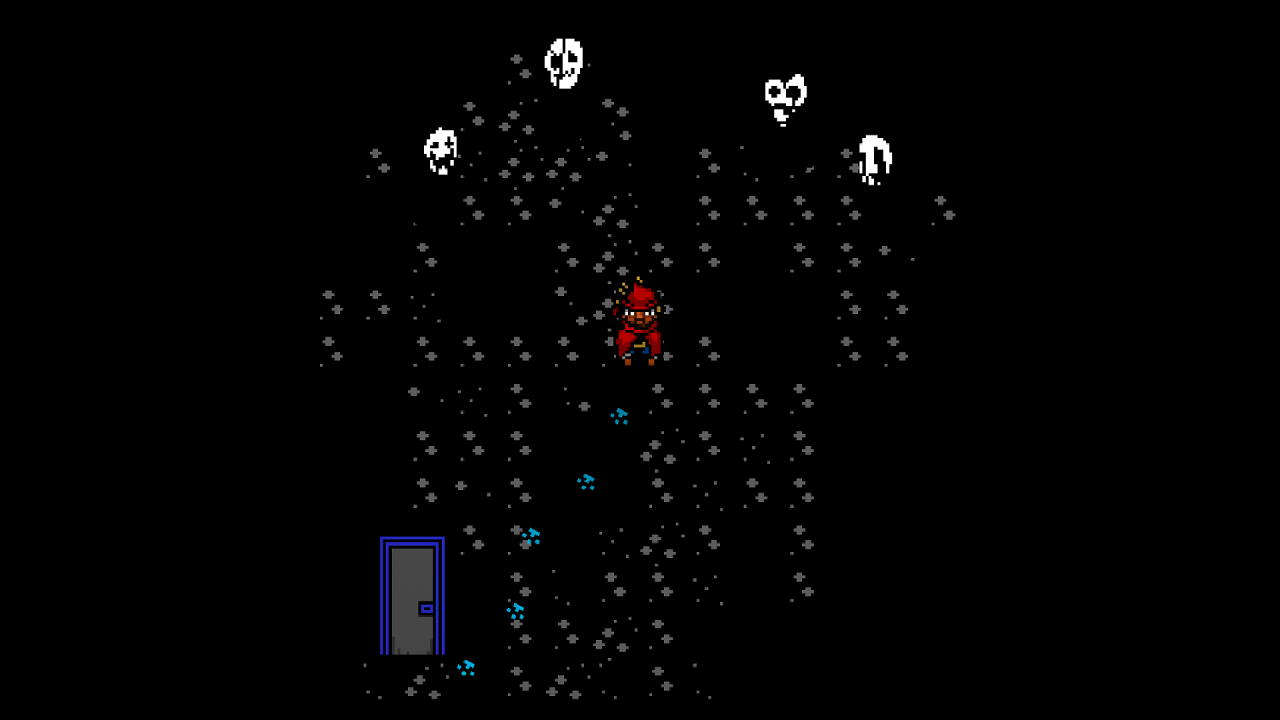 Red in a room with some mysterious masked spirits in Everhood