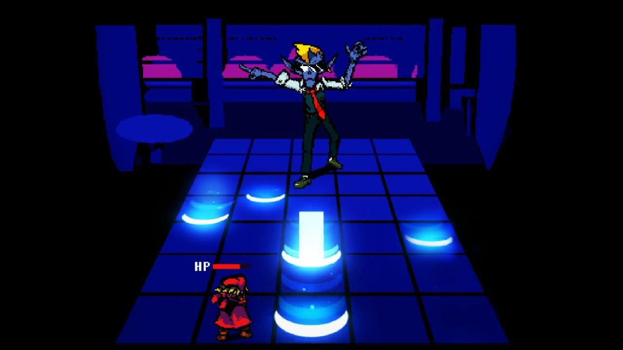 Dancing on a blue shifting floor in Everhood.