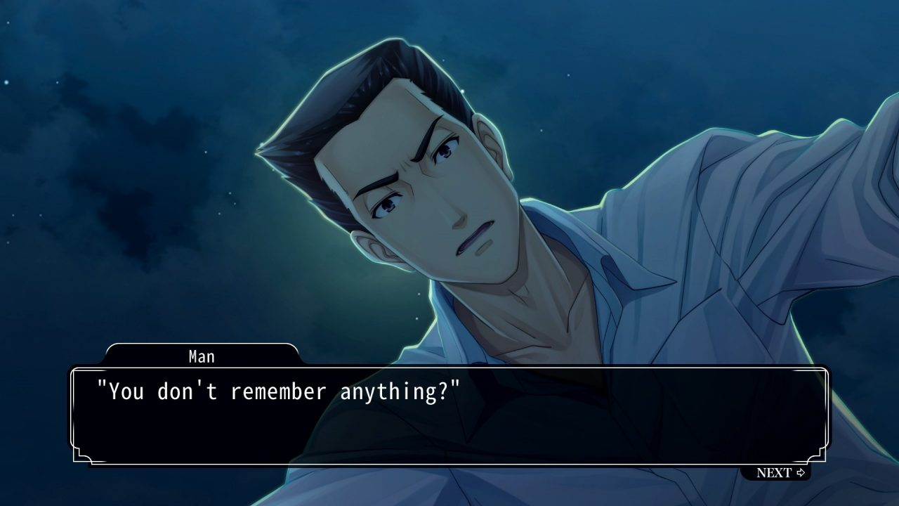 """A man stands over the protagonist outdoors at night asking, """"You don't remember anything?"""""""