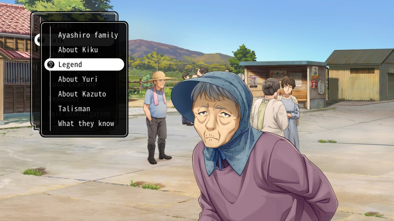 An elderly woman appears before the protagonist in Famicom Detective Club: The Missing Heir with a list of topics for questioning.